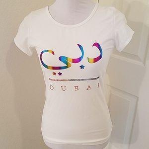 Dubai Rainbow Metallic Graphic Tee Shirt